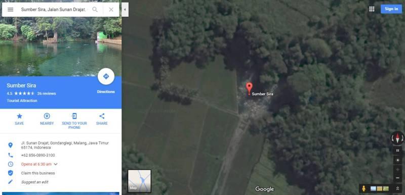 Peta Lokasi Wisata Terbaru Malang, Sumber Sirah