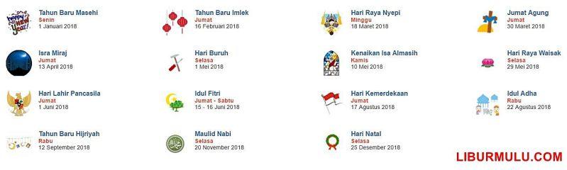 Daftar hari libur nasional Indonesia tahun 2018