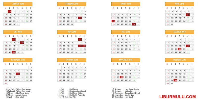 Kalender liburan 2018 untuk mempermudah kalian merencanakan liburan di tahun 2018