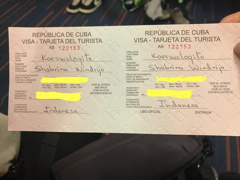 Contoh Visa Cuba/Visa Kuba yang sudah disetujui