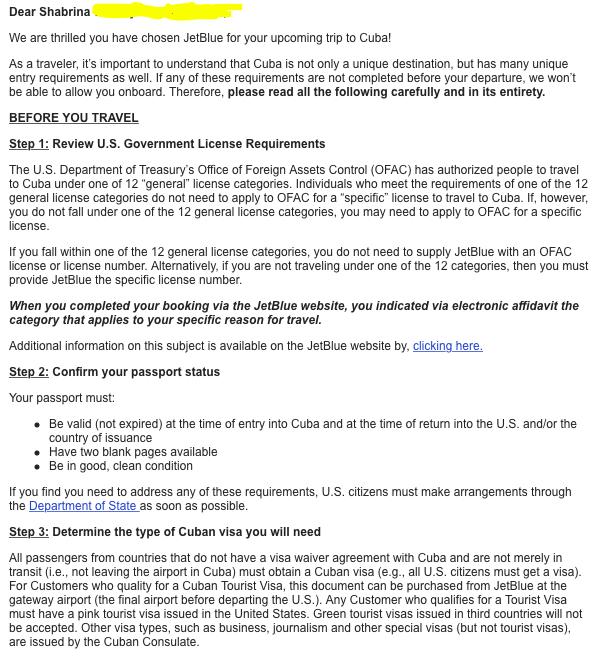 Screenshot email konfirmasi pesawat JetBlue