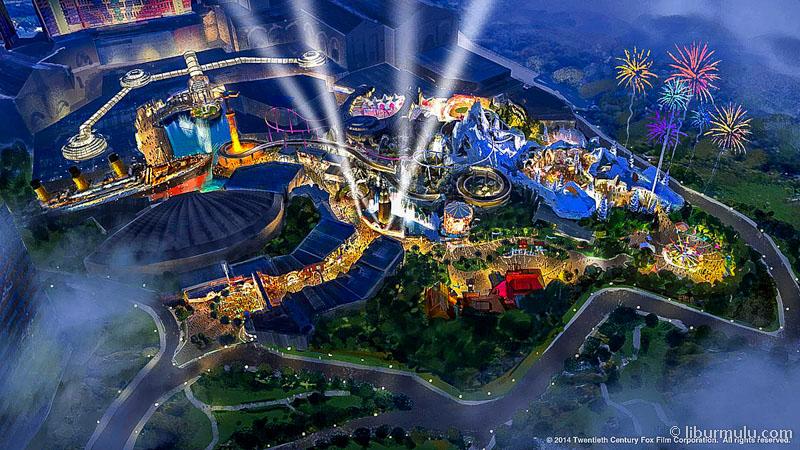 Theme park 2th Century Fox World yang bakal hadir di Genting Highlands pada tahun 2018 nanti