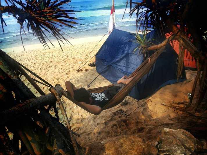 On Sanglen Beach you can relax on hammocks like this. via @gesangsanget