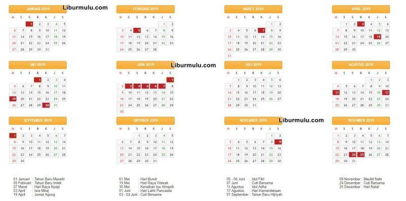 Kalender 2019, Daftar Hari Libur Nasional 2019, Daftar Cuti Bersama 2019!