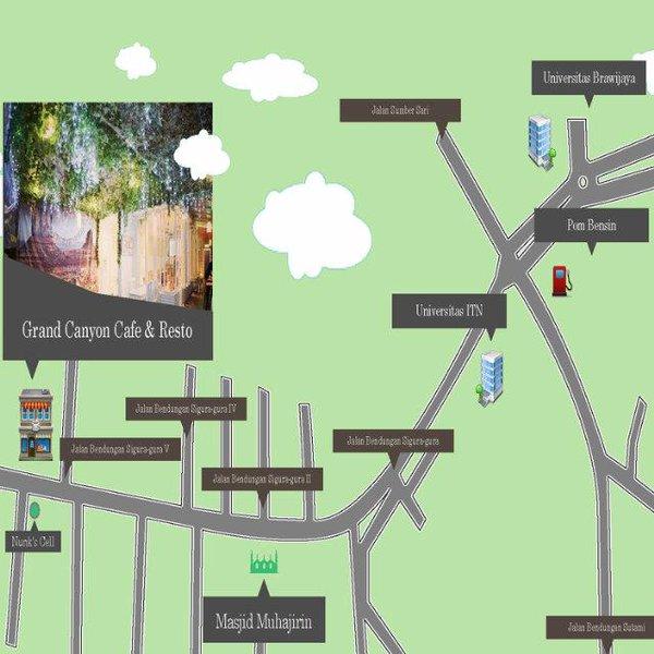 Peta Lokasi Grand Canyon Cafe & Resto Malang via @grandcanyonMLG