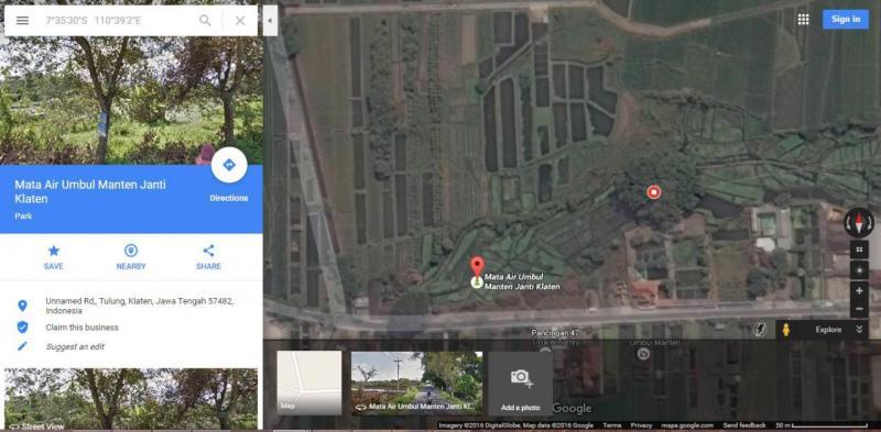 Peta Lokasi Umbul Manten di Google Maps