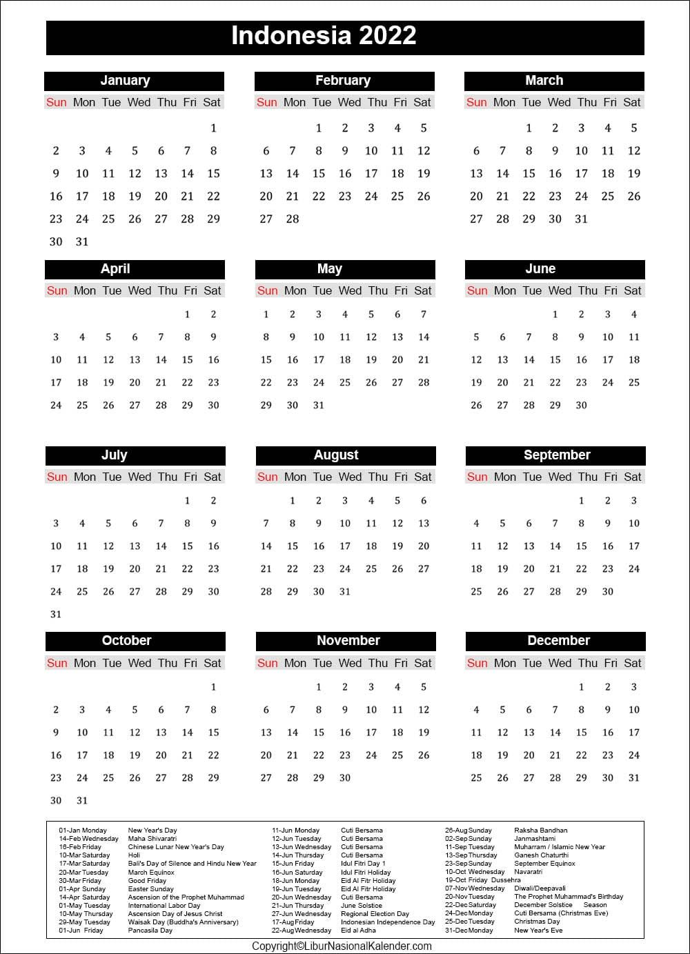 Calendar 2022 Indonesia | Public Holidays 2022