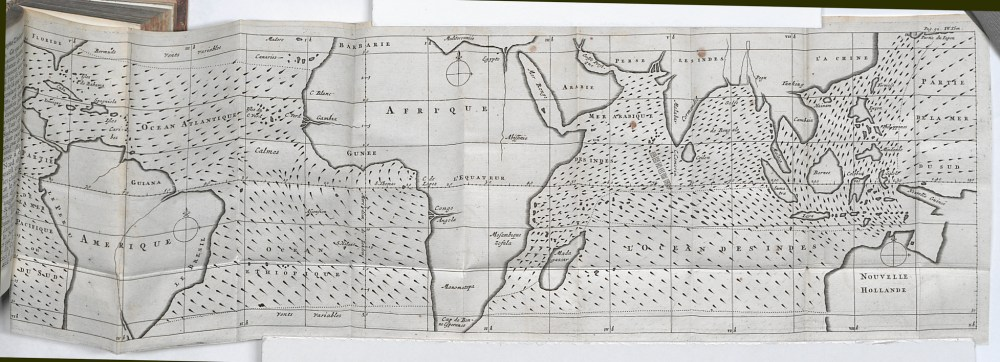 medium resolution of first meteorological map charting the directions of trade winds and monsoons having collected information from navigators familiar with ocean transits