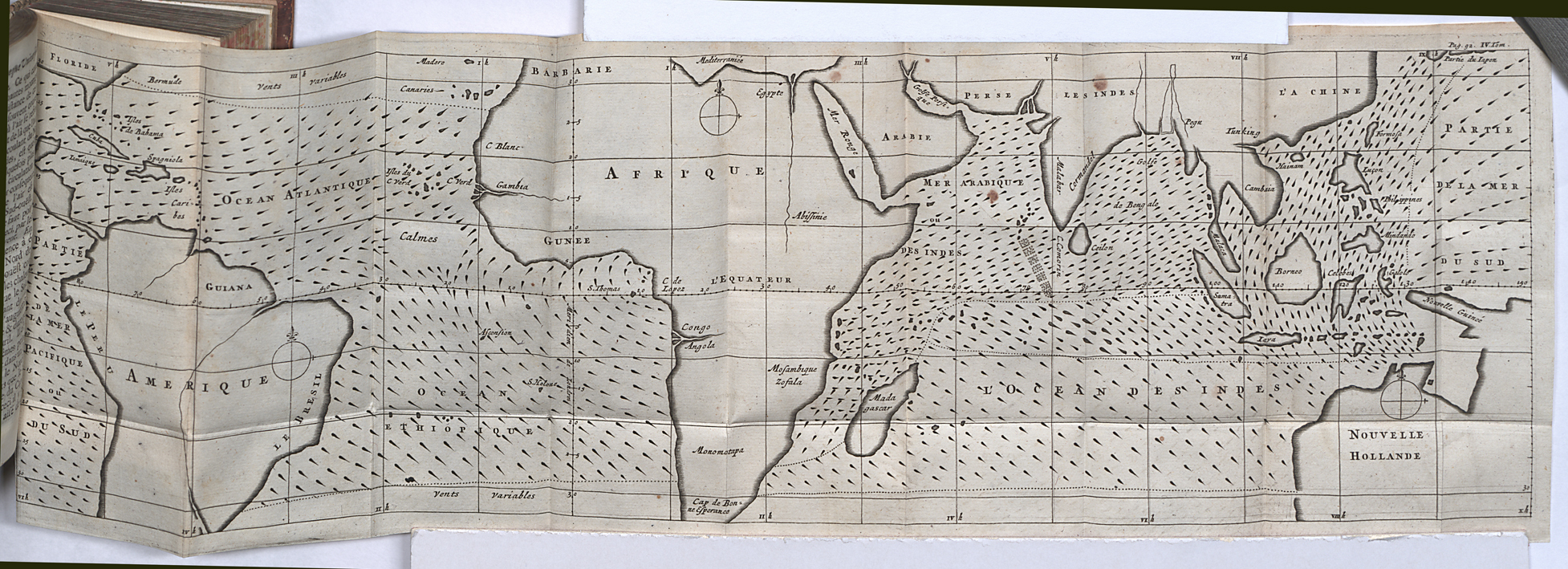 hight resolution of first meteorological map charting the directions of trade winds and monsoons having collected information from navigators familiar with ocean transits