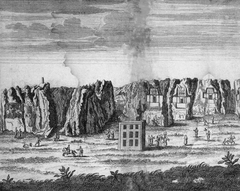 كعبة زرادشت سنة 1723م . رسم Le Chevalier Chardin اثناء رحلته الى بلاد فارس