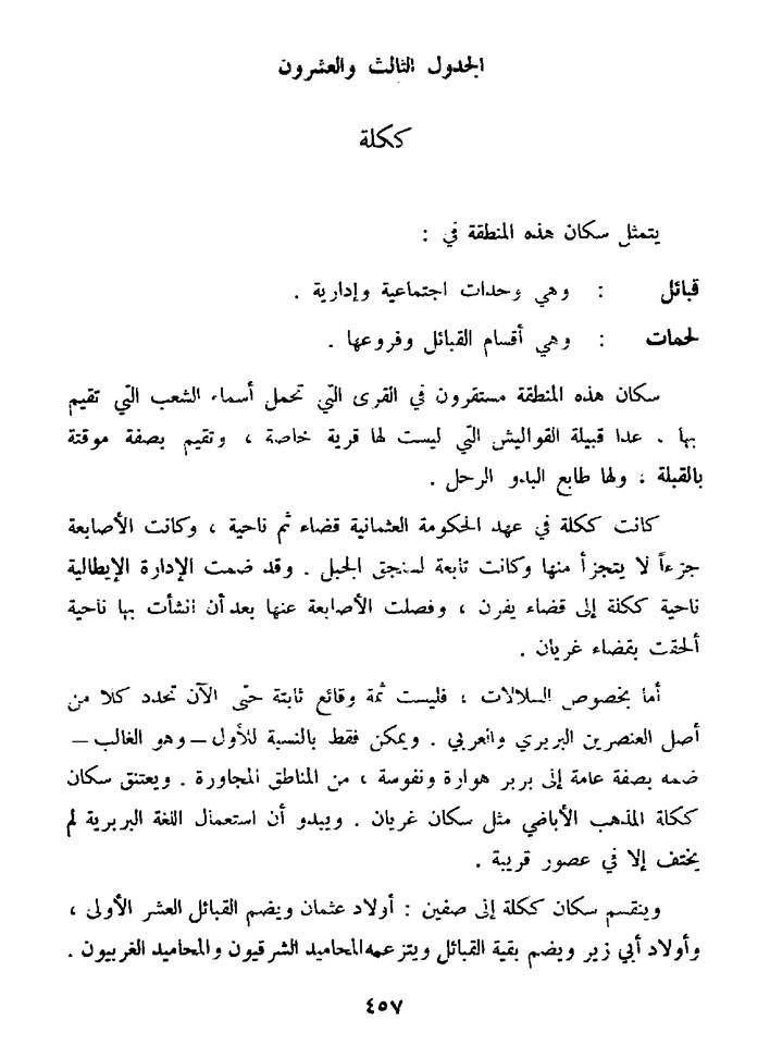 ككله تتكون من نفوسة وهوارة وكانت تتبع المذهب الاباضي وفقدوا لغتهم الليبية منذ وقت قريب