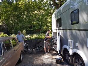 Loading the bikes back into the camper