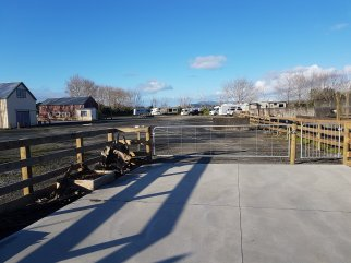 With the concrete still brand new the entrance to the NZMCA Park in Dargaville