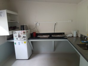 A very clean and tidy kitchen in the DOC camp