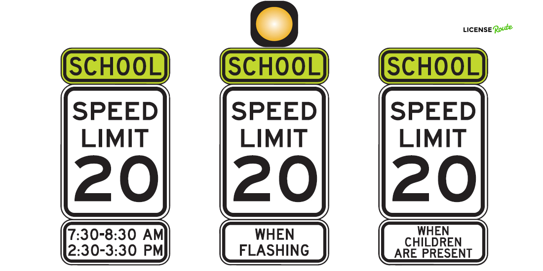 Speed limit signs in a school zone