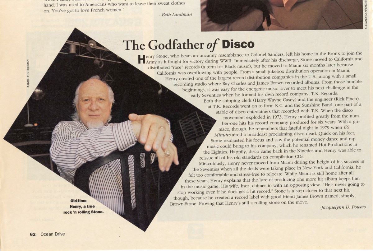 The Godfather of Disco, Henry Stone, In Ocean Drive Magazine