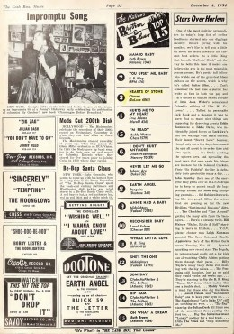 """The Charms """"Hearts Of Stone"""" Climbs The National R&B Charts – Cash Box (1954)"""