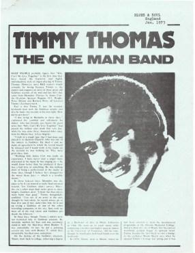 "Timmy Thomas ""The One Man Band"" – Blues & Soul – England (1973)"