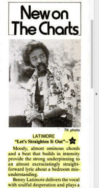 "Latimore ""Let's Straighten It Out"" – New On The Charts – Billboard (1974)"