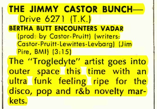 "Jimmy Castor Bunch ""Bertha Butt Encounters Vadar – Drive Records – Record World (1978)"