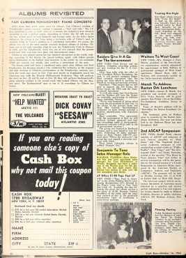 Tone Distributors in Hialeah Promotes Dave Benjamin – Cash Box (1965)
