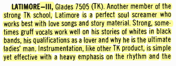 "Latimore – III – Glades Records – ""Perfect Soul"" – BILLBOARD (1975)"