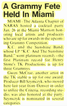 KC and The Sunshine Band Play Grammy Party in Miami – BILLBOARD (1976)