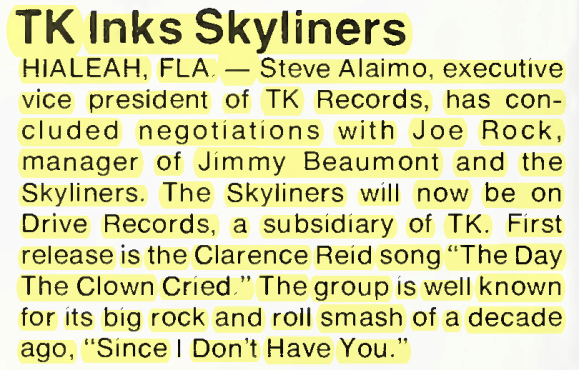 """TK Inks Skyliners"" – Cash Box (1976)"