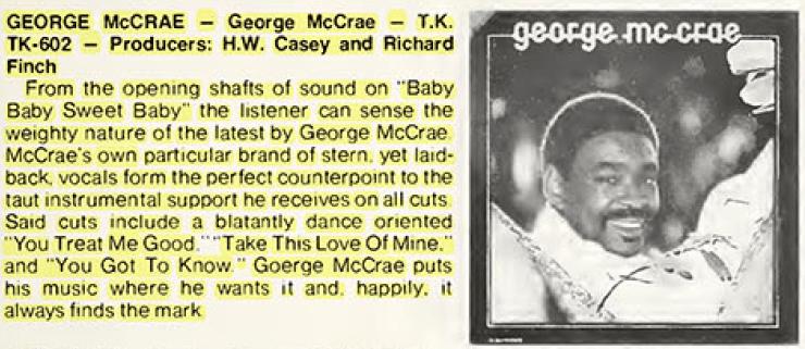 "George McCrae – ""Baby Sweet Baby"" – Cash Box (1975)"