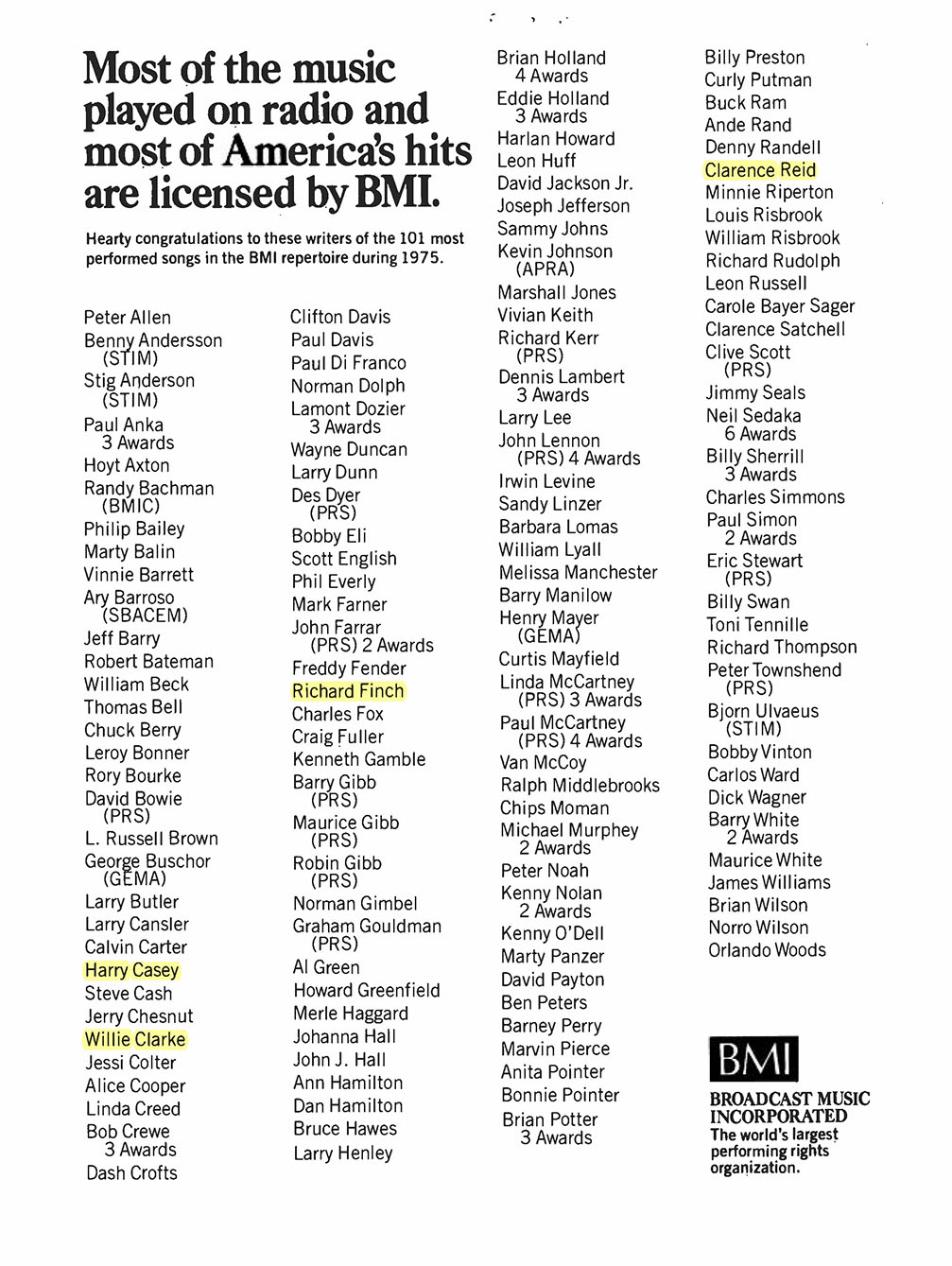 Most of America's Hits Are Licensed by BMI