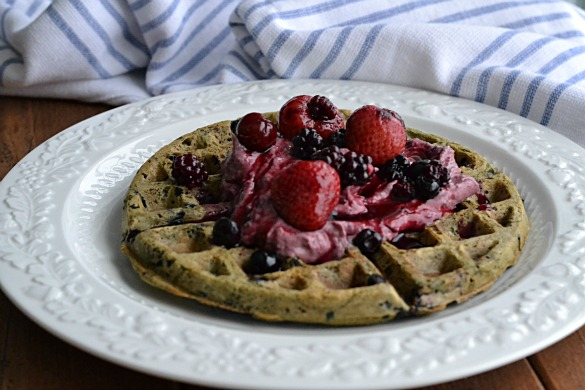 Blueberry Waffles with Berry Cream (AIP/Paleo/Sugar-Free)