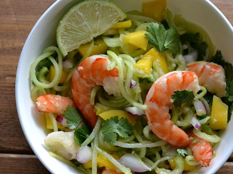 Spiralized Cucumber Shrimp Salad with Honey Lime Dressing (AIP/Paleo/Refined Sugar-Free)