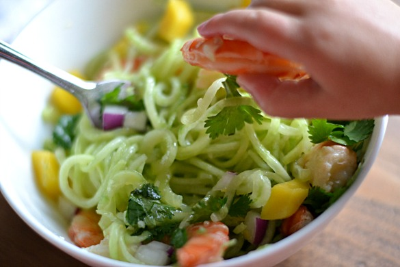Spiralized Cucumber Shrimp Salad (AIP/Paleo/Refined Sugar-Free)|Lichen Paleo, Loving AIP