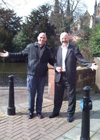 Pete Wilcox and Peter Bradley at Speakers' Corner in Lichfield