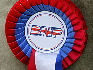 The BNP logo on a rosette