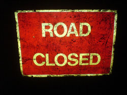 Road closed sign. Pic: STML