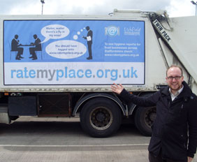 Lichfield District Council's webmaster Stuart Harrison with one of the adverts