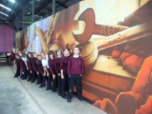 Year 9 students with their mural