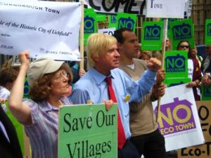 Michael Fabricant with protestors outside Parliament