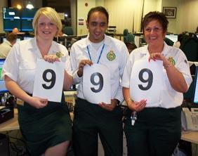 West Midlands Ambulance Service's emergency operations centre staff Katie Howse, Zak Sheikh and Mandy Ward