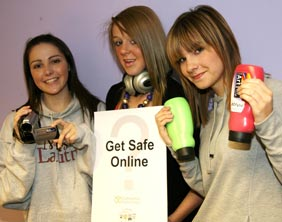 Heather Spennelwyn, Jade Hayward and Becky Colclough at the launch of the Get Safe Online competition