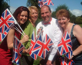 Ruth Harvey and Anita Clinton from Lichfield Operatic Society and Paul and Deborah Roberts from Bella Musica!