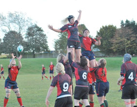 Lichfield's Sarah Hunter rises in a line-out