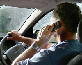 A driver using his mobile phone