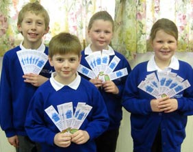 James Armstrong, Nicholas Docherty, Lucy Tonks and Emma Hughes with their bookmarks