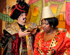 Tom Roberts as the evil Abanazer with Rustie Lee as the Genie