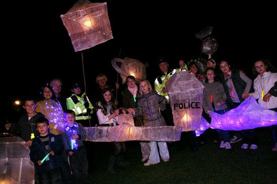 People taking part in the lantern procession in Lichfield