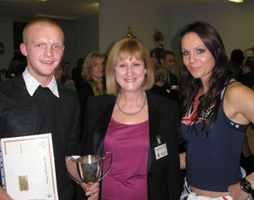 Student Jacob Nelson Pazera, head teacher Bernice Astling and Gladiator Jenny Pacey