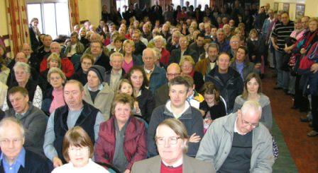 Residents packed into the meeting at Harlaston Village Hall