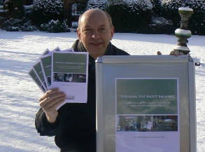 Andy Haynes, Implementation Manager for Lichfield District Council, with an a-board